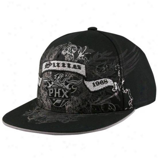 Phoenix Suns Hat : Adidas Phoenix Suns Black Flat Bill Banner Flex Fit Hat