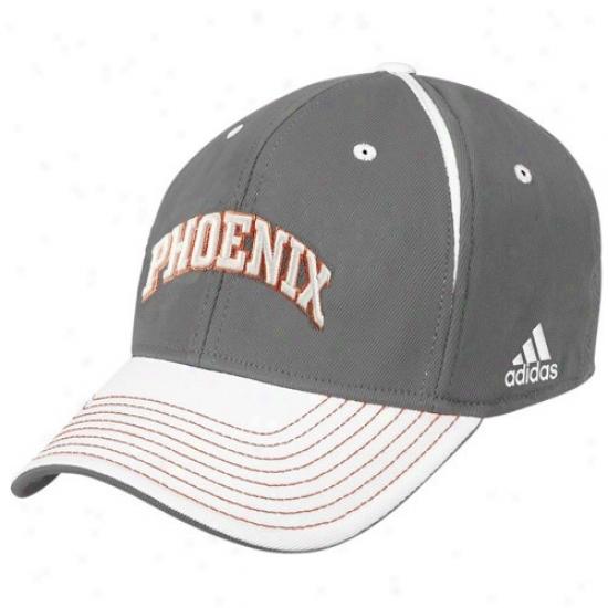 Phoenix Suns Hats : Adidas Phoenix Suns Gray Block Letter Flex Fit Hats