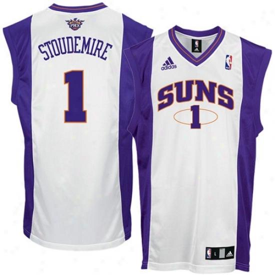 Phoenix Suns Jersey : Adidas Phoenix Suns #1 Amare Stoudemire White Replica Basketbball Jersey