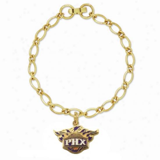 Phoenix Suns Ladies Gold-tone Charm Bracelet