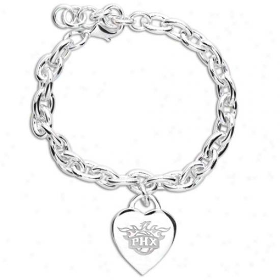 Phoenix Suns Ladies Sivler Heart Charm Bracelet