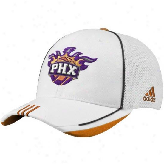 Phoenix Suns Merchandise: Adidas Phoenix Suns White 2010 Authoritative On-court Ensnare Back Flex Fit Hat