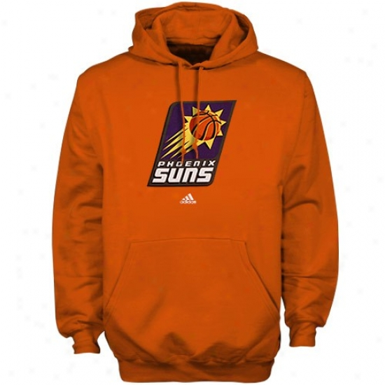 Phoenix Suns Stuff: Adidas Phoenix Suns Orange Full Primary Logo Hoody Sweatshirt