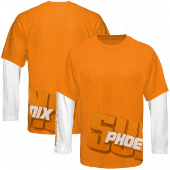 Phoenix Suns Twes : Phoenix Suns Orange Two Fold Double Layer Long Sleeve Tees