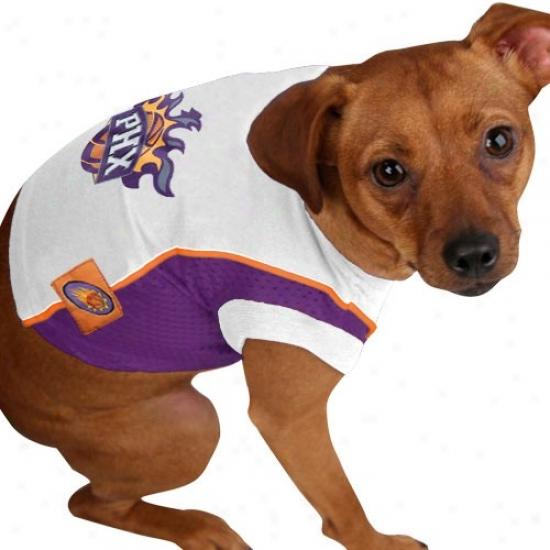 Phoenix Suns White Team Logo Pet Mesh Jersey