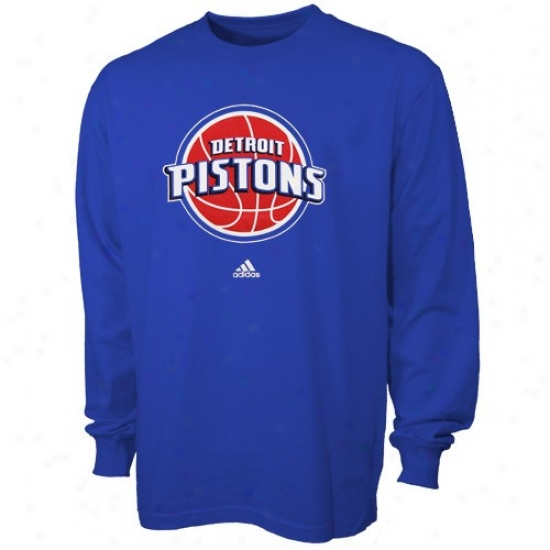 Pistons Apparel: Adidas Pistons Youth Royal Blue Full Primary Logo Long Sleeve T-shirt