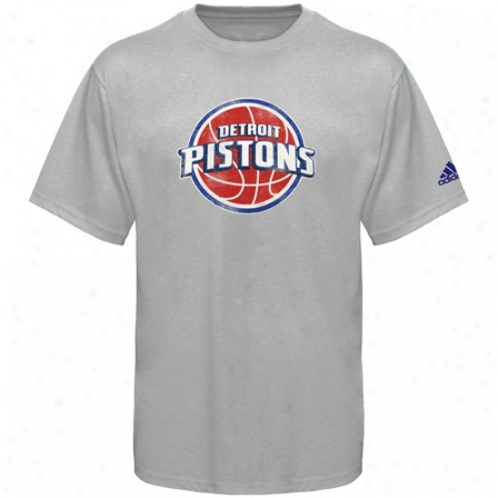 Pistons Dress: Adias Pistons Gray Better Logo T-dhirt
