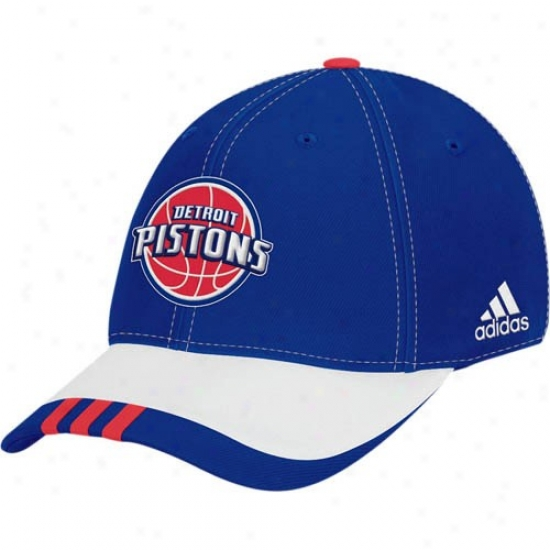 Pistons Cap : Adidas Pistons Royal Blue 2008 Nba Draft Day 1-fit Flex Fit Cap