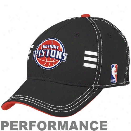 Pistons Gear: Adidas Pistons Black Official Draft Day Performance Stretch Become Hat