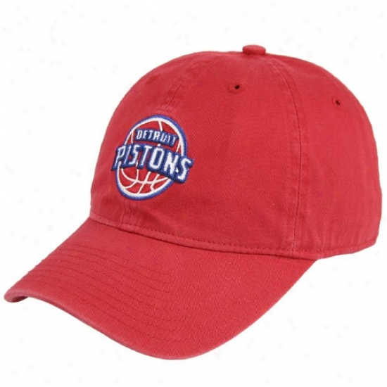 Pistons Gear: Adidqs Pistons Red Basicc Logo Slouch Hat