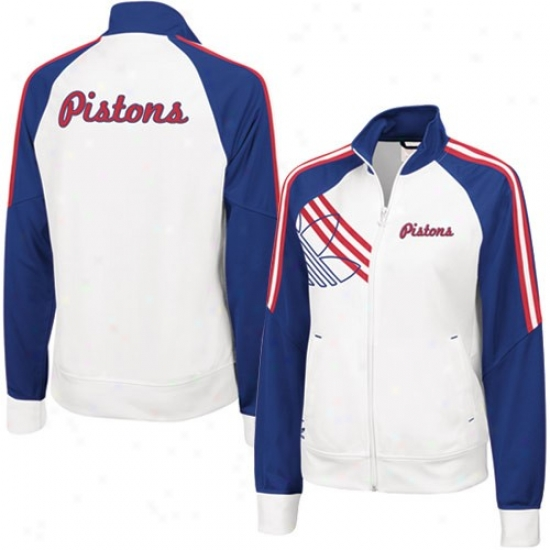 Pistons Jacket : Adidas Pkstons Ladies White Court Succession Track Jacket