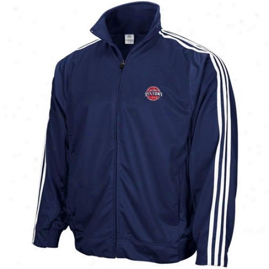 Pistons Jacket : Adidas Pistons Navy Blue 3-stripe Full Zip Track Jacket
