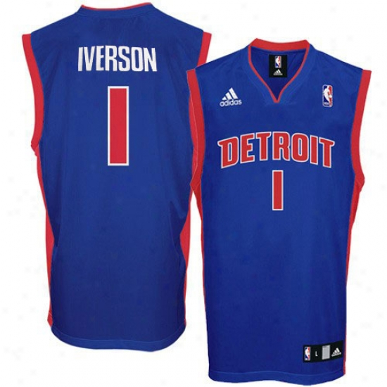 Pistons Jersey : Adidas Pistons #1 Allen Iverson Royal Blue Replica Basketball Jersey