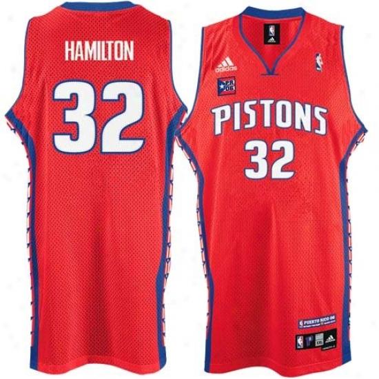 Pistons Jersey : Adidas Pistons #32 Richard Hamilton Red Puerto Rico Swingman Basketball Jersey