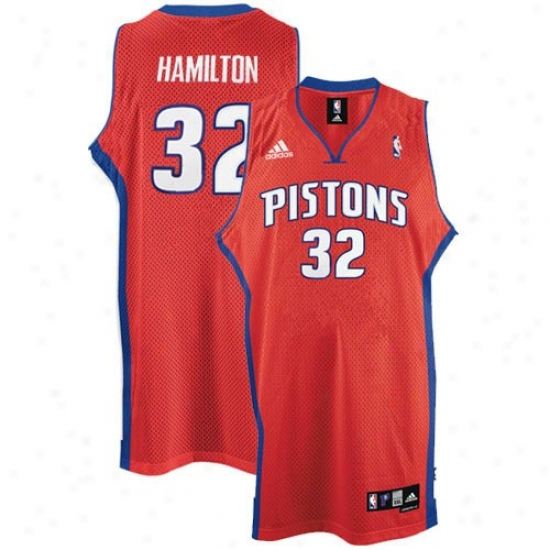 Pistons Jersey : Adidas Pistons #32 Richard Hamilton Red 2nd Road Swingman Basketball Jersey