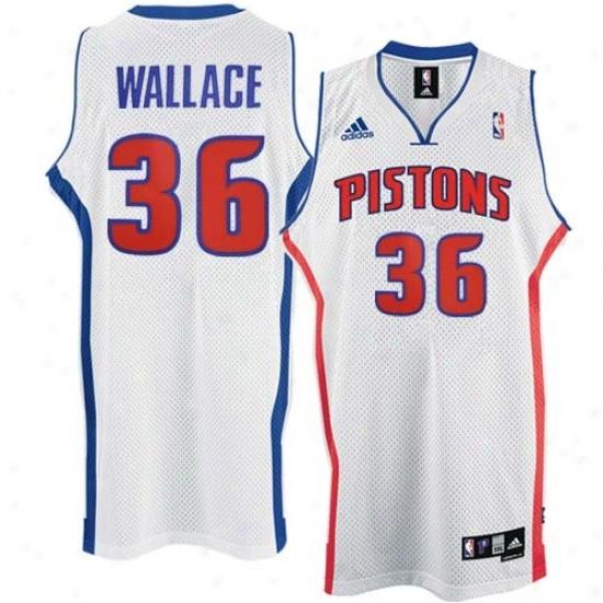 Pistons Jersey : Adidas Pistons #36 Rasheed Wallace White Home Swingman Basketball Jersey