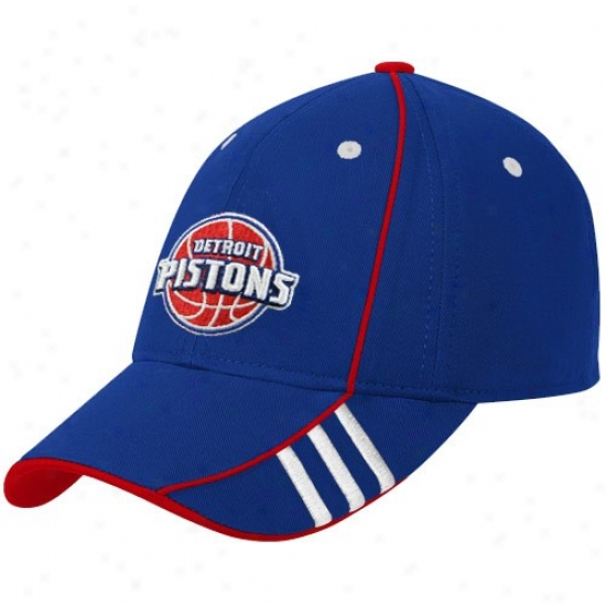 Pistons Merchandise: Adidas Pistons Royal Blue Official Team Adjustable Hat