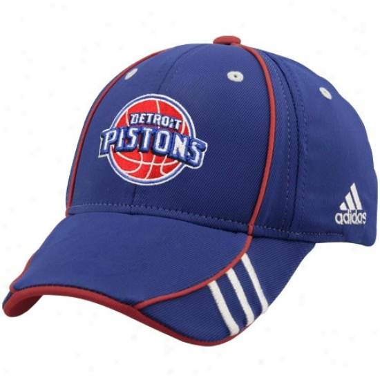 Pistons Merchandise: Adidas Pistons Royal Blue Nba Draft Day 1-fit Flex Fit Hat