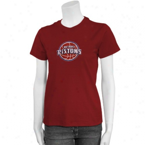 Pistons Shirts : Adidas Pistons Ladies Red Distressed Logo Sirts