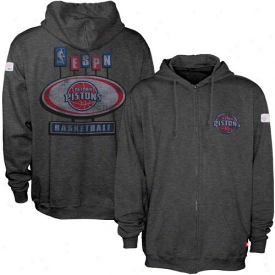 Pistons Sweatshirts : Sportiqe-espn Pistons Charcoal Pancakes Distressed Full Zip Sweatshirts