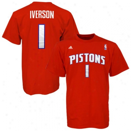 Pistons T-shirt : Adidas Pistons #1 Alleb Iverson Red Net Player T-suirt