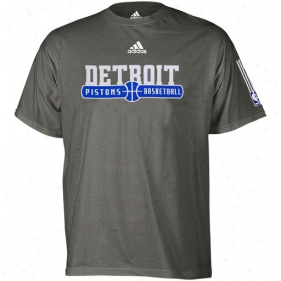 Pistons T Shirt : Adidas iPstons Dark Gray Ball Horizon T Shirt