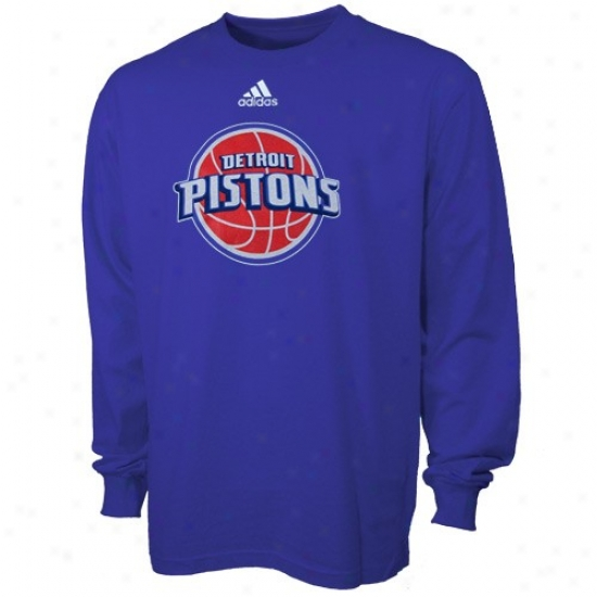 Pistons T Shirt : Adidas Pistons Magnificent Blue Youth Primary Logo Long Sleeve T Shirt
