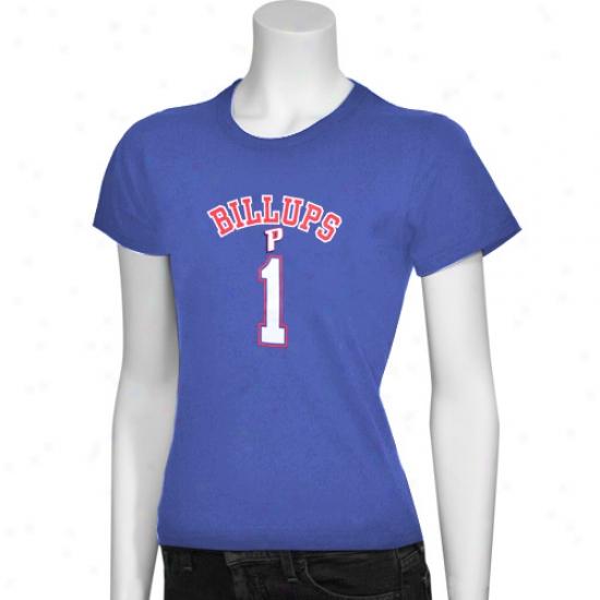 Pistons T Shirt : Pistons #1 Chauncey Billups Royal Livid Ladies Player T Shirt