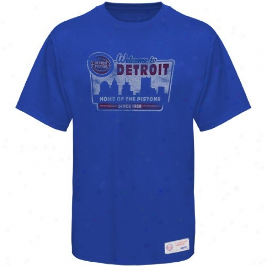 Pistons Tshirts : Sportiqe-espn Pistons Royal Blue Billboard Distressed Premium Tshirts