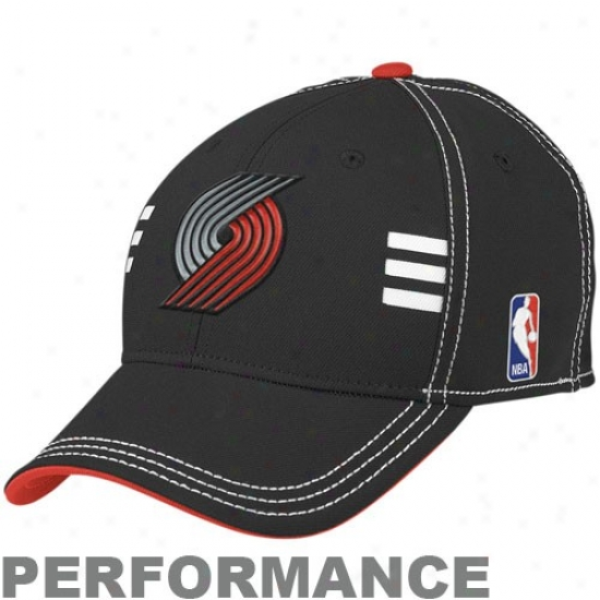 Portland Blazer Gear: Adidas Portland Blazer Black Official Draft Day Performance Stretch Fit Hat
