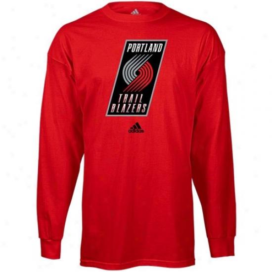 Portland Blazers Apparel: Adidas Portland Blazers Red Primary Logo Long Sleeve T-shirt