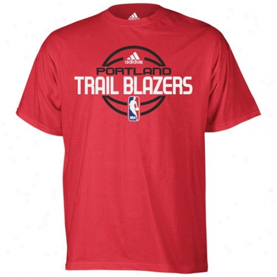 Portland Blazers Attire: Adidas Portland Blazers Red Team Issue T-shirt