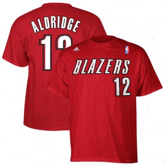Portland Blazers Attire: Adidas Portland Blazers #12 Lamarcus Aldridge Red Net Player T-shirt