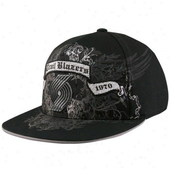 Portland Blazers Hat : Adidas Portland Blazers Black Dull Bill Banner Flex Fit Hat