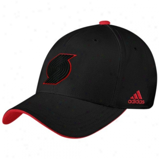 Portland Blazers Hats : Adidas Portland Blazers Black Tonal Flex Fit Hats