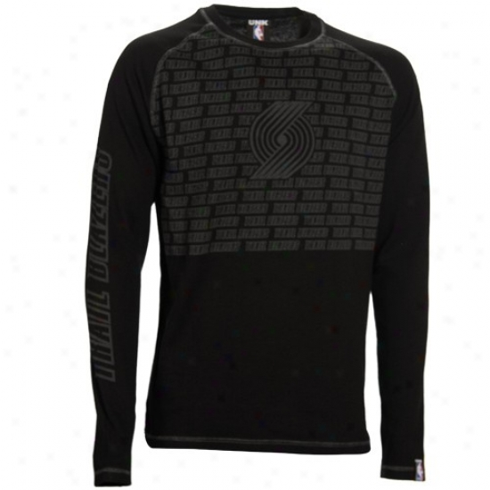 Portkand Blazers Tees : Portland Blazerz Black The Fadeaway Long Sleeve Warm Tees