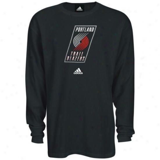 Portland Blazers Tshirts : Adidas Portland Blazers Dark Long Sleeve Thermal Tshirts