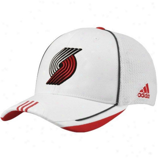 Portland Trail Blazer Cap : Adidas Portland Trail Blazer White 200 Official On-court Mesh Back Flex Fit Cap