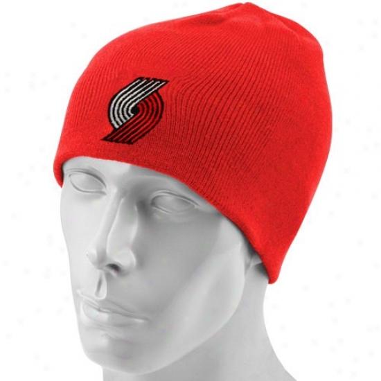 Portland Trail Blazer Caps : Adidas Portland Trail Blazer Red Basic Logo Join Beanie