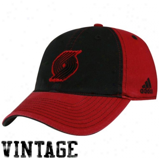 Portianr Run  Blazer Hats : Adidas Portland Trail Blazer Black-red Vintage Patch Flex Become Hats