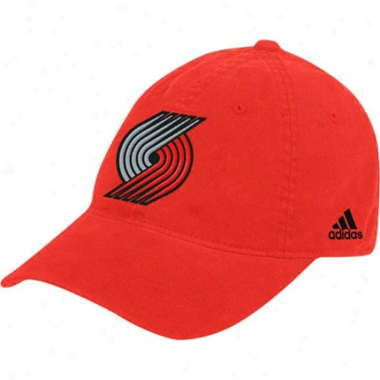 Portland Trail Blazer Merchandise: Adidas Portland Trail Blazer Red Basic Logo Flex Be suited Slouch Hat