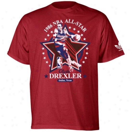 Portland Trail Blazer Shirts : Adidas Portland Trail Blazer Red Clyde Drexler Headliner Throwback Premium Shirts