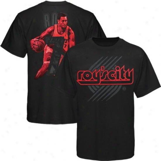 Portland Trail Blazer T-shirt : Portland Trail Blazer #7 Brandon Roy Youth Black Notorious T-shirt