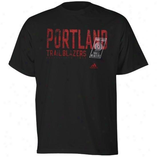 Portland Trail Blazer Tshirt : Adidas Portland Trail Blazer Black Fringed Tshirt