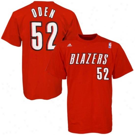 Portland Trail Blazer Tshirt : Adidas Portlans Trail Blazer #52 Greg Oden Red Player Tshirt