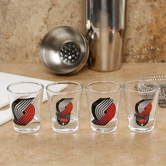 Portland Run  Blazers 4-pack Enhanced High Definition Intention Shot Glass Set