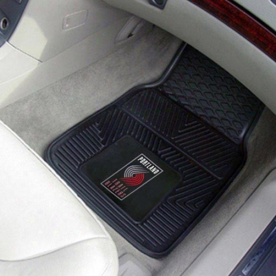 Portland Trail Blazers Black 2-;iece Vinyl Car Mat Set