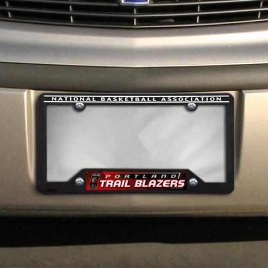 Portland Trail Blazers Black Plastic Licwnse Plate Frame