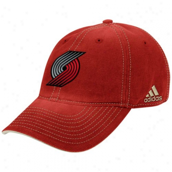 Portland Impose upon Blazsrs Hat : Adidas Portland Trail Blazers Heather Red Adjustable Slouch Hat