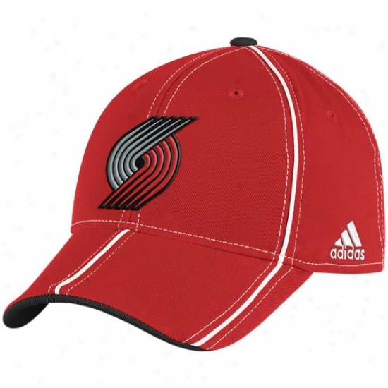 Portland Trail Blazers Hats : Adidas Portland Trail Blazers Red Structured Trimmed Flex Fit Hats